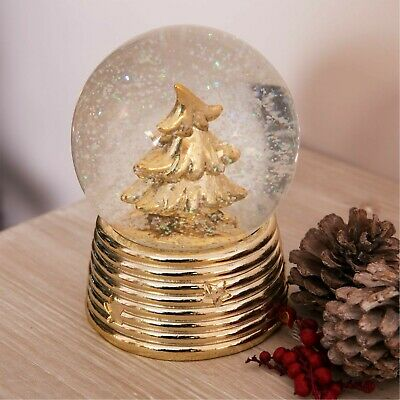 Christmas Snow Globe Gold Tree Ornament Decoration 🎄 😍 UK Stock • 11.29£