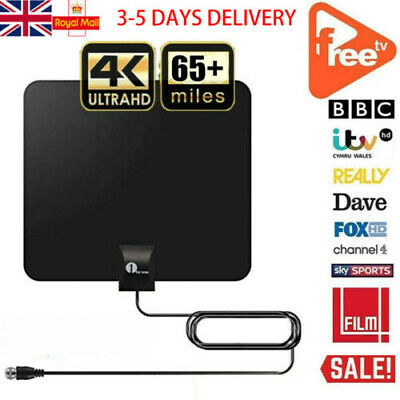 1BYONE Indoor Digital TV Antenna HDTV Aerial Freeview Paper Thin Signal 3M Cable • 9.99£