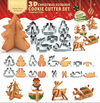 3D Christmas Cookie Cutters Stainless Steel Biscuit Cake Fondant Cutter Mould UK • 5.99£