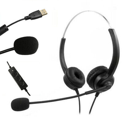 USB Wired Call Center Headset Noise Cancelling Headphone With Microphone MIC UK • 10.44£