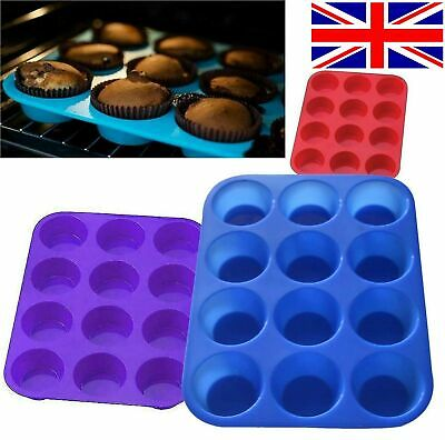 12 Large Silicone Muffin Yorkshire Pudding Mould Cupcake Baking Bakeware Tray • 2.99£