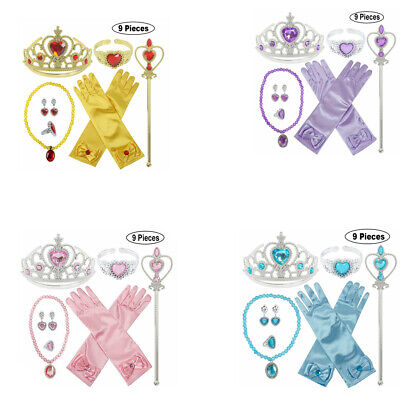Girls Child Kids Princess Queen Wand & Tiara Crown Dressing Up 9/4 Pieces Sets • 4.99£