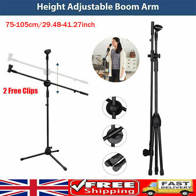 Adjustable Microphone Stand Boom Arm Holder & Mic Clip Stage Studio Tripod Stand • 13.19£