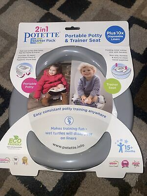 Potette 2 In 1 Starter Pack Portable Potty & Trainer Seat • 13.99£