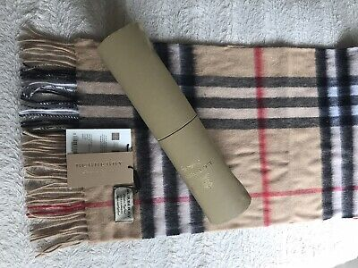 Burberry The Classic Check 100% Cashmere Scarf With A Beautiful Box ~NEW~ Tag • 170£