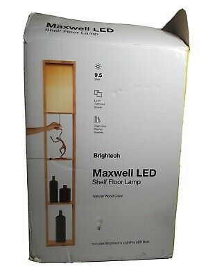 Maxwell Shelf Floor Lamp Modern Mood Lighting Living & Bedroom Natural Wood, New • 27.21£
