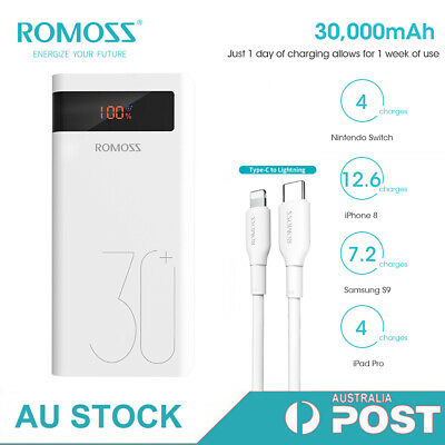 AU45.99 • Buy ROMOSS 30000mAh Power Bank 18W Type-C PD QC3.0 Fast Charger For IPhone 12/11/X