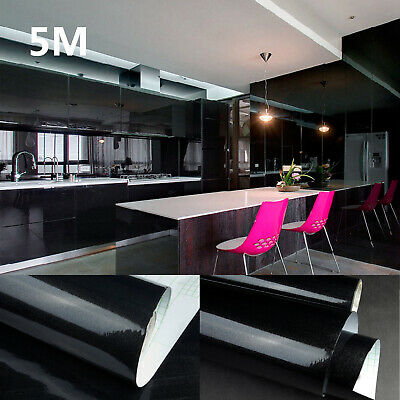 5m Glossy Fablon Kitchen Cupboard Doors Draws Self Adhesive Vinyl Cover Film • 13.59£