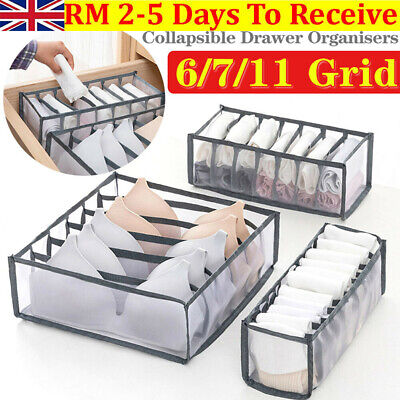 3X Foldable Underwear Storage Box Compartment Underpants Bra Organizer Drawer UK • 8.99£