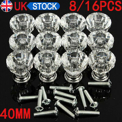 8/ 16x 40mm Crystal Diamond Glass Pull Handle Door Knobs Drawer Cupboard Cabinet • 8.99£