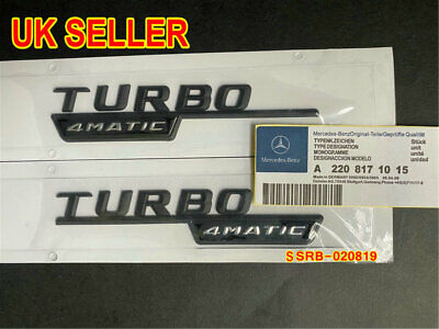 Matte Black TURBO 4matic Emblems Badges For Mercedes Benz A35 A45 CLA45 GLA45 • 11.99£