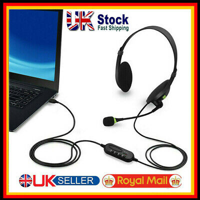 USB Headphones With Microphone Noise Cancelling Headset For Skype Laptop NEW • 8.79£