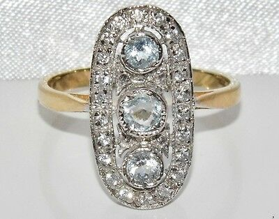 Art Deco 9ct Yellow Gold On Silver Natural Aquamarine Cluster Ring ~ Size R • 45£