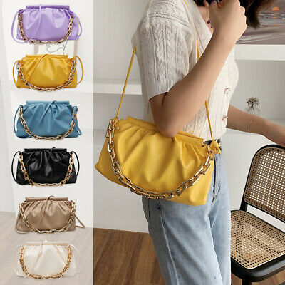 Women Pleated Chain Shoulder Bag Cloud Crossbody Totes PU Leather Handbag Pouch • 8.64£