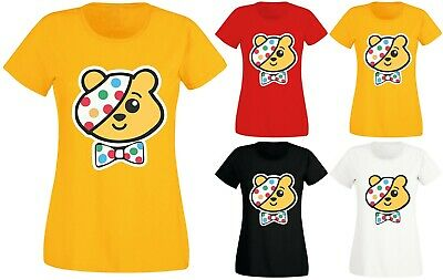 Womens Ladies Children In Need Pudsey Bear Pandora Bow Charity T-shirt Top 8-20 • 7.99£
