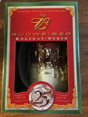 $ CDN26.12 • Buy Genuine Budweiser 1980-2004 25Th Anniversary Holiday Beer Stein New In Box