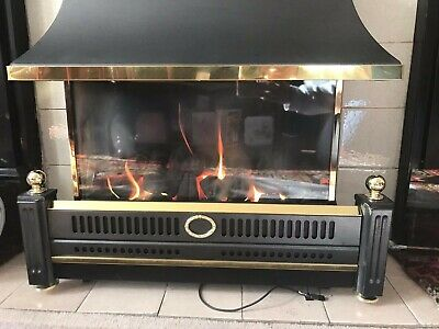 Black Flavel Renoir Gas Fire Radiant Convector Coal Effect With Remote Control • 100£