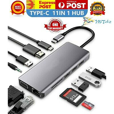 AU62.95 • Buy USB C Hub 11 In 1 VGA AUX RJ45 4k HDMI PD USB C USB 3.0 Compatible With Macbook
