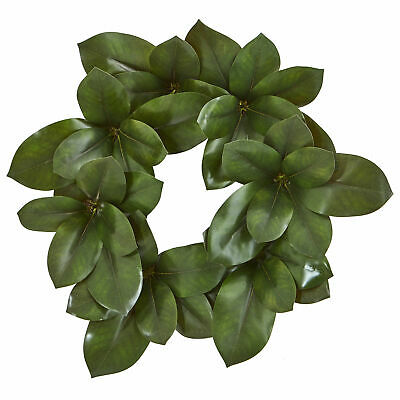 """$56.53 • Buy 22"""" Magnolia Leaf Artificial Wreath Realistic Nearly Natural Home Office Decor"""