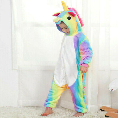 AU24.91 • Buy Rainbow Unicorn Kids Kigurumi Animal Cosplay Costume Onesie01 Pajamas Sleepwear0