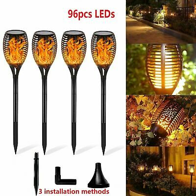 96 LED Flame Solar Torch Light Waterproof Flickering Dancing Path Garden Lamp UK • 28.99£