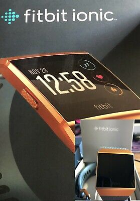 AU175 • Buy Fitbit Ionic Fitness Tracker Smart Watch, Burnt Orange Face With Blue Band
