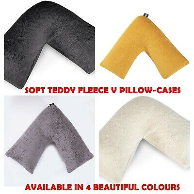 Teddy Bear V Shaped Pillow Cushion Case Warm Soft Cosy Back Neck Support Cases  • 8.99£