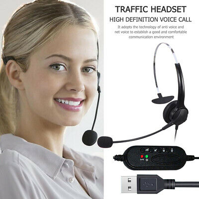 Call Center Customer Service Wired Headset Monaural Computer Headphones With Mic • 10.49£
