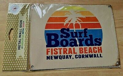 Surf Boards, Seaside Fistral Beach Newquay Cornwall Metal/Steel Wall Sign • 0.99£