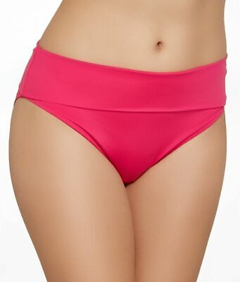High Waisted Bikini Brief Hot Pink Size XL 16 Fold Top Swimwear Bottom Saress • 5.89£