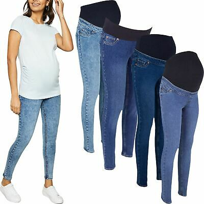 Ex-Store Ladies Skinny Over Bump Jeans Jeggings Maternity Stretchy Pregnancy • 11.99£