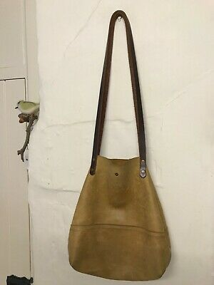 Handmade Bespoke Leather Bag.  Tan With Dark Straps. Used. Inner Clasp Broken • 15.10£