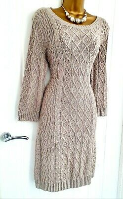 MONSOON 12 14 Beige Chunky Cable Knit Jumper Dress Cotton Wool Winter Warm  • 30.03£