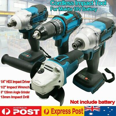 AU208.99 • Buy Cordless Impact Wrench Driver Drill Grinder Combo Kit For Makita 18V Battery