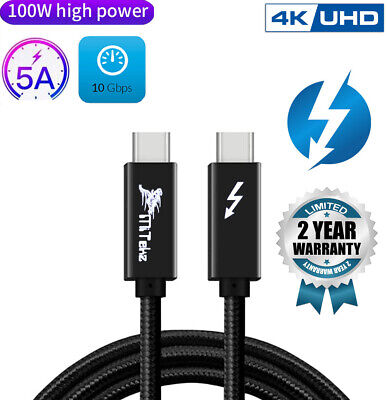 AU23.05 • Buy Thunderbolt 3 USB C Cable, MiTekz 1M 2M 10 Gbps 20 Gpbs 100W 4K Type C 20V/5A