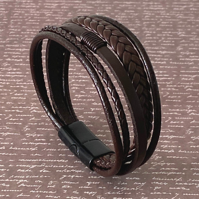 Mens Leather Handmade Bracelet Magnetic-Clasp Braided Multi-Layer Wrap Men Brown • 6.89£