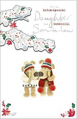 Boofle Daughter & Son-In-Law At Christmas Greeting Card Embellished Xmas Cards • 5.99£