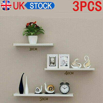 3 Floating Wooden Wall Mount Shelves Display Unit MDF Shelf Set Book Storage UK • 10.99£