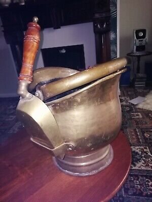 Vintage Brass Coal Scuttle Complete With Shovel • 19.99£