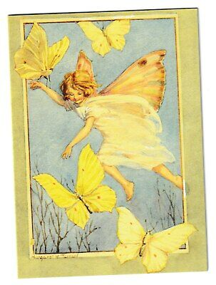 Margaret Tarrant Brimstone Butterfly Fairy Medici Blank Greeting Card • 1.75£