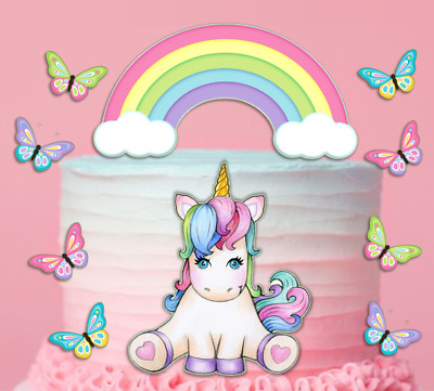 AU21.80 • Buy Rainbow And Unicorn Icing Cake Topper Birthday Decorations Decals #163