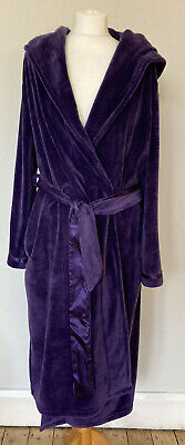 B BY Ted Baker Purple Hooded Dressing Gown Size 12 14 Soft Velour Long Housecoat • 37.99£