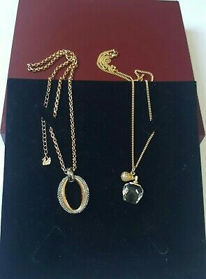 Swarovski Crystal Jewellery 2x Pendants On Chains / Necklaces - Gold Coloured • 0.99£