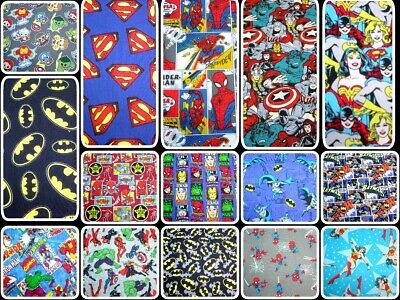 SUPERHERO AVENGERS DC COMICS HEROINES MARVEL 100% Cotton Patchwork Quilt FABRIC • 6.50£