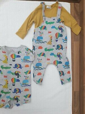 NEXT Baby Boys Dungarees And Body Suit Set With Matching Bodysuit • 5.50£
