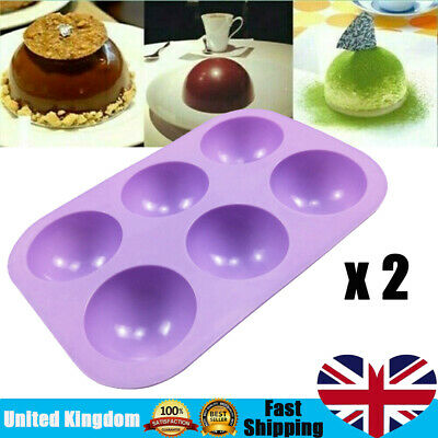 2Pcs Half Ball Sphere Silicone Cake Mold Chocolate Cookie Ice Candy Baking Mould • 3.75£