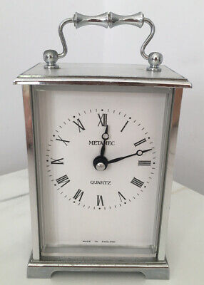 Vintage Metamec Quartz Carriage Clock Made In England Battery Silver Plated • 6.60£