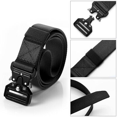 Quick Release Buckle Military Trouser BELT Army Tactical Canvas Webbing Black UK • 6.49£