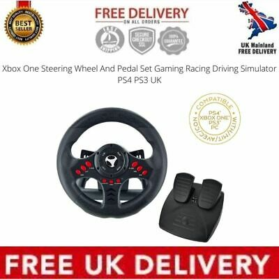 Xbox One Steering Wheel And Pedal Set Gaming Racing Driving Simulator PS4 PS3 UK • 55.99£