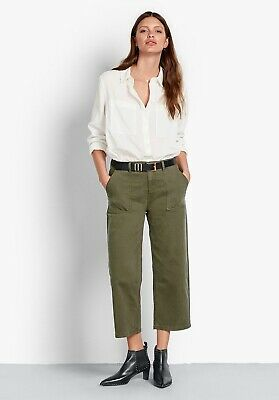 HUSH Khaki Dark Green Cropped Cotton Workwear Trousers Size 10 • 19.99£